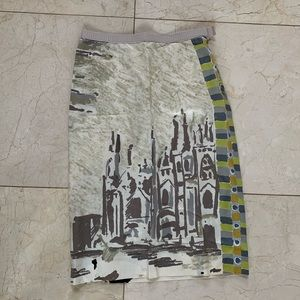 Prada NWOT Cathedral Painted Pencil Skirt Sz 40
